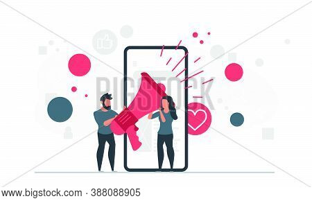 People And Mobile Marketing. A Man And A Woman With A Loudspeaker Are Standing Near A Mobile Phone.