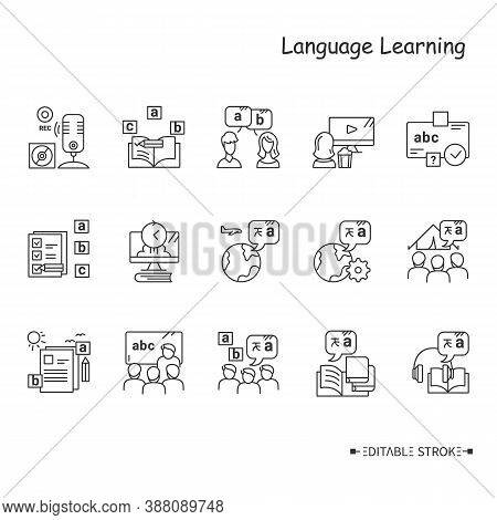 Foreign Language Learning Line Icon Set. Learning Methods, Ways And Processes. Speaking, Listening,