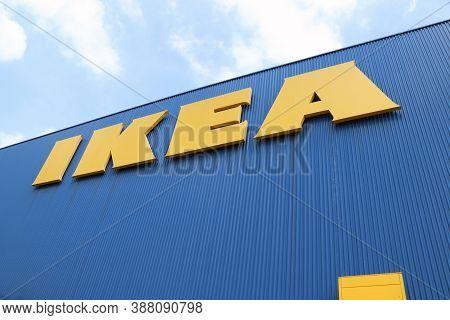 Bang Phli, Samut Prakan, Thailand, Jan 7, 2018 :  Ikea Big Yellow Sign On Blue Wall With Blue Sky. I