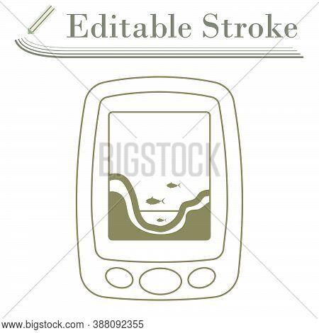 Icon Of Echo Sounder. Editable Stroke Simple Design. Vector Illustration.