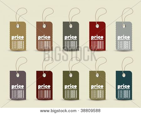 Price tag with retro pattern in editable vector format