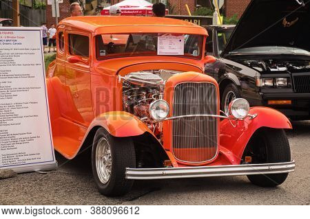 Toronto, Canada - 08 18 2018: 1931 Ford Model A Oldtimer Car On Display At The Open Air Auto Show Wh