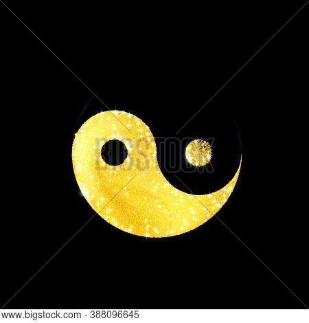 Art Golden texture crumbs yin and yang shaped, icon. Spiritual relaxation yoga or meditation. Gold sparkle, glitter isolated on black. Dust scattering, particles sand. Vector illustration Eps 10.