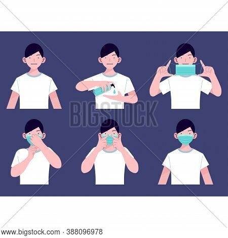 Vector Flat Illustration, How To Wear Medical Mask Correct For Prevent Virus And Bacteria. Step By S