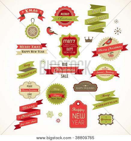 Christmas vintage labels, elements and illustrations