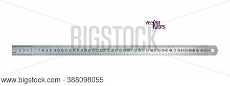 Top View Realistic Metal Centimeters Ruler, Measuring Tool Isolated On White Background. 50 Sm, Cm,