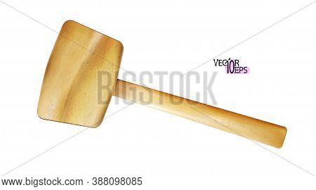 Realistic Wooden Mallet Modern Craft With Handle Of Wood. Woodworking, Metalworking, Locksmith Work