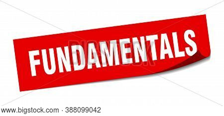 Fundamentals Sticker. Square Isolated Label Sign. Peeler
