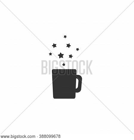 Coffe Mug With Stars. Mug With Tea Or Coffee Icon Isolated On White Background.