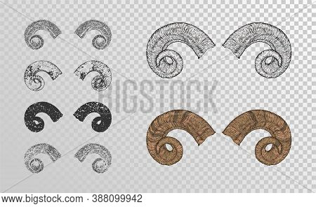 Vector Set Of Hand Drawn Horns Ram With Grunge Elements In Different Versions On A Transparent Backg