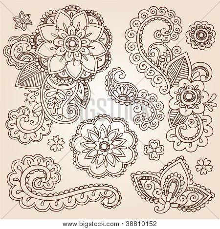 Henna Paisley bloemen Mehndi Tattoo Doodles Set - Abstract Floral Vector Illustratie ontwerpelementen