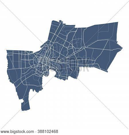 Bangkok Map. Detailed Vector Map Of Bangkok City Administrative Area. Cityscape Poster Metropolitan