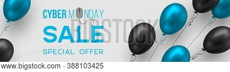 Cyber Monday Sale Poster Or Banner For Seasonal Discounts. Realistic Blue And Black Glossy Balloons