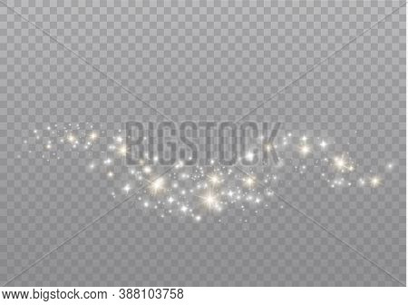 The Dust Sparks And Golden Stars Shine With Special Light. Vector Sparkles On A Transparent Backgrou