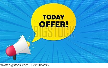 Today Offer Symbol. Background With Megaphone. Special Sale Price Sign. Advertising Discounts Symbol