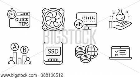 Ssd, Ab Testing And Report Statistics Line Icons Set. Computer Fan, Web Lectures And Chemistry Lab S