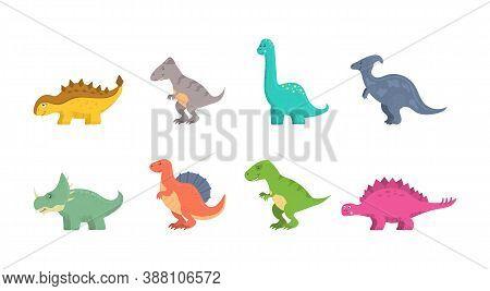 Funny Set Of Cartoon Dinosaurs Isolated On White Background. Fantasy Cartoon Colorful Prehistoric Ha