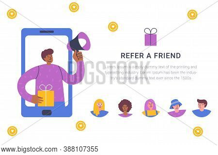 Refer A Friend Concept. Attract Friend. Dark Skinned Boy Shouts On Megaphone About Referral Program