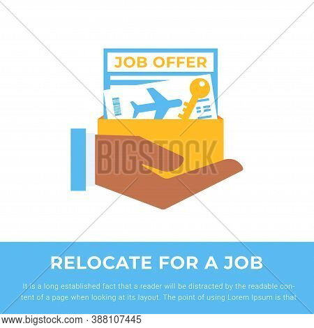 Relocate For Work. Hand Holding Job Offer, Ticket And Key For Moving To Another Country. Human Resou
