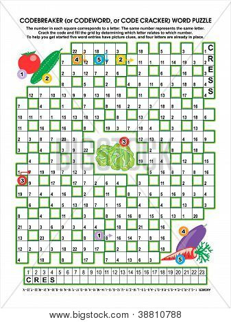 Codebreaker (or codeword, or code cracker) word puzzle, vegetable garden themed, answer included poster