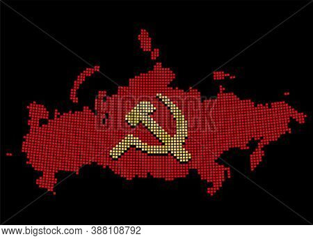 Stylized Ussr Map With Hammer And Sickle, Communist Russia Symbol. Pixel Art Style Silhouette. Isola