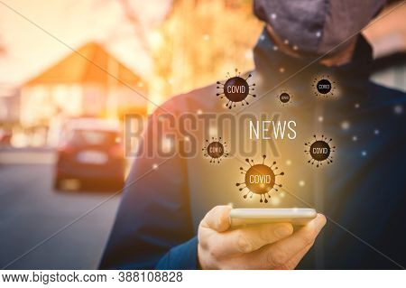 Person Read Outside News About Covid-19 On Smart Phone. Excessive Consumption Of Media Influence Men
