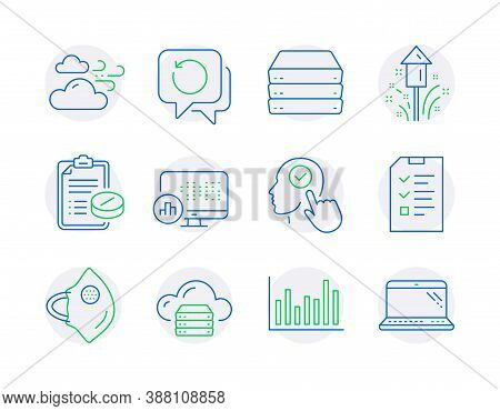 Science Icons Set. Included Icon As Report Statistics, Cloud Server, Servers Signs. Medical Mask, Se