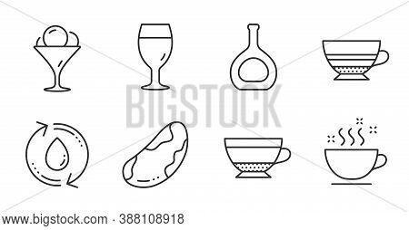 Coffee Cup, Beer Glass And Brazil Nut Line Icons Set. Dry Cappuccino, Refill Water And Mocha Signs.