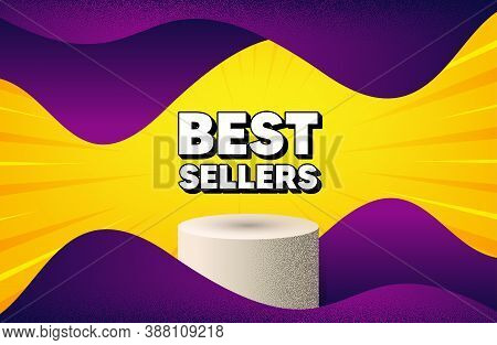 Best Sellers. Abstract Background With Podium Platform. Special Offer Price Sign. Advertising Discou