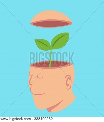 Man With A Little Tree In His Open Head, Idea Concept Cartoon Isolated On Pastel Color Background Ve