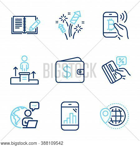 Line Icons Set. Included Icon As Credit Card, Graph Phone, World Travel Signs. Feedback, Business Po