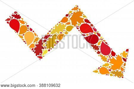 Recession Arrow Composition Icon Organized For Fall Season. Raster Recession Arrow Mosaic Is Organiz