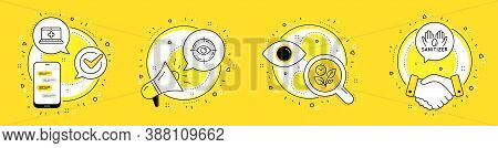 Medical Help, Leaves And Eye Target Line Icons Set. Cell Phone, Megaphone And Deal Vector Icons. Han