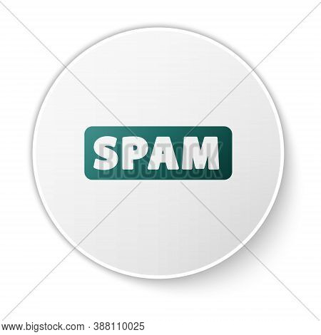 Green Spam Icon Isolated On White Background. White Circle Button. Vector