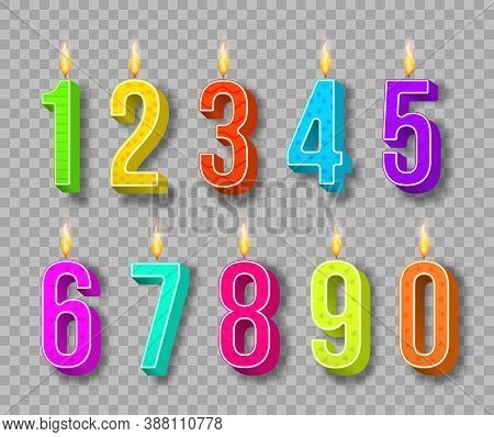 Celebration Cake Candles Burning Lights, Birthday Numbers And Party Candle. Different Color Birthday