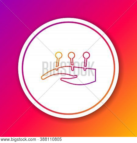 Color Line Acupuncture Therapy On The Hand Icon Isolated On Color Background. Chinese Medicine. Holi