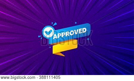 Approved Paper Banner. Purple Background With Offer Message. Permission Quality Tag. Check Guarantee