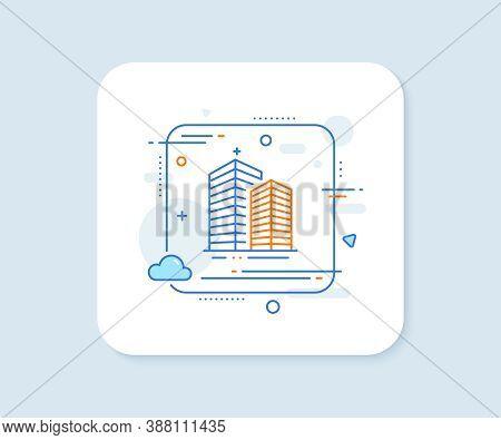Skyscraper Buildings Line Icon. Abstract Square Vector Button. City Architecture Sign. Town Symbol.