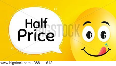 Half Price. Easter Egg With Yummy Smile Face. Special Offer Sale Sign. Advertising Discounts Symbol.