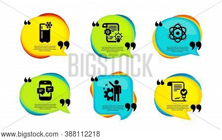 Refrigerator, Cogwheel And Employee Icons Simple Set. Speech Bubble With Quotes. Atom, Phone Message