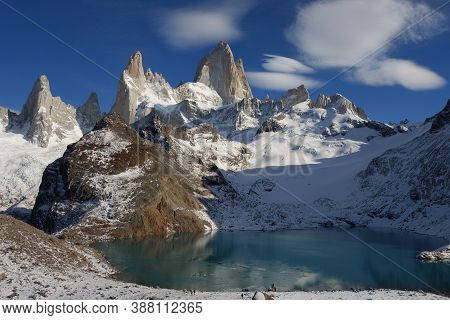 View From The Summit Of The Fitz Roy Hike With Rock Mastif And Lake