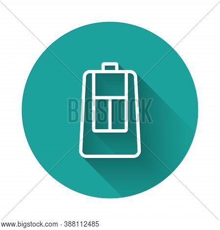 White Line Car Key With Remote Icon Isolated With Long Shadow. Car Key And Alarm System. Green Circl