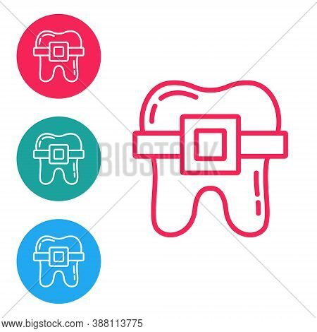 Red Line Teeth With Braces Icon Isolated On White Background. Alignment Of Bite Of Teeth, Dental Row