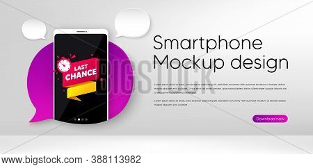Last Chance Offer Banner. Mobile Phone Vector Mockup. Sale Timer Tag. Countdown Clock Promo Icon. Sm