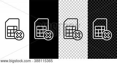 Set Line Sim Card Rejected Icon Isolated On Black And White Background. Mobile Cellular Phone Sim Ca
