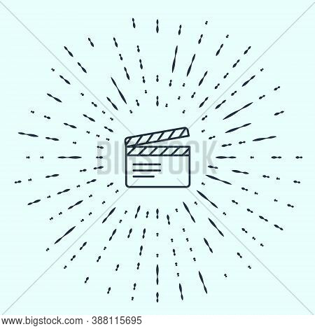 Black Line Movie Clapper Icon Isolated On Grey Background. Film Clapper Board. Clapperboard Sign. Ci