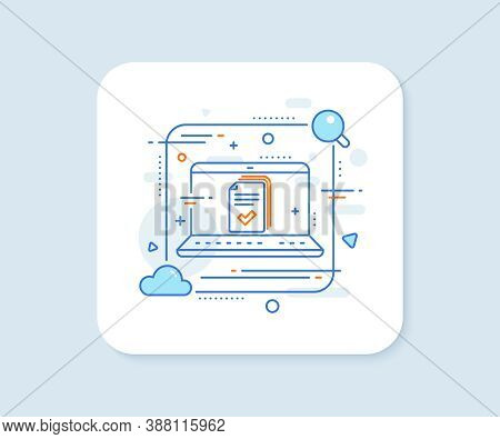 Handout Line Icon. Abstract Vector Button. Documents Example Sign. Handout Line Icon. Laptop Concept