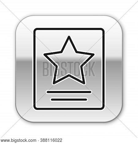 Black Line Hollywood Walk Of Fame Star On Celebrity Boulevard Icon Isolated On White Background. Fam