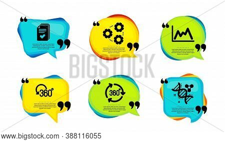 Gears, Full Rotation And Diagram Icons Simple Set. Speech Bubble With Quotes. Handout, 360 Degree An