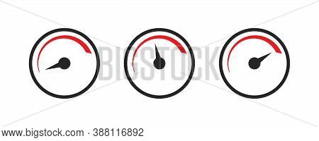 Speed Level Indicator. Low And High Scale. Barometer Level In Black And Red. Minimum And Maximum Lev